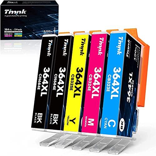 Timink 364XL Cartouche d'encre Compatible Remplacement pour HP 364XL pour HP Deskjet 3070A 3520 3524 Officejet 4620 4610 4622 Photosmart 5520 5510 5511 5512 5522 6520 6512 6515 (5 Pack)