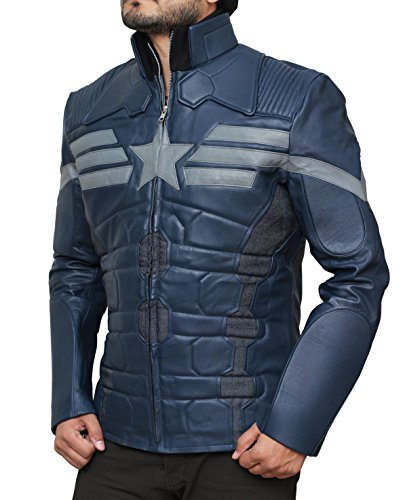 Captain America and The Winter Soldier Steve Rogers Leather Jacket - Captain America et The Winter Soldier Steve Rogers Veste en cuir (L, Bleu)