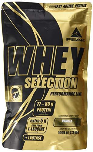 PEAK Whey Selection 1000g| über 40{cd71f6a556ee703a34651cbfae5723c7d58eb99ffa3ee5e8c1ce572369d7de20} Isolatanteil | Premium Molkenprotein mit L-Leucin | (Vanilla)