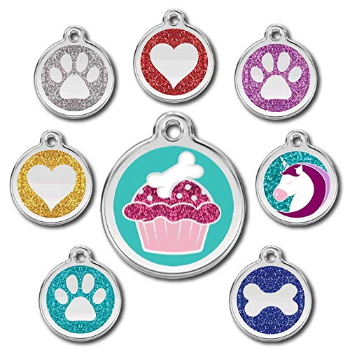 Love Your Pets Deluxe Deep Engraved Pet ID Tags - Stainless Steel & Glitter - Now Selling on Amazon! Paw, Heart, Bone Pet Tags, Dog Tags, Cat Tags - Most Ship Next Day (Aqua, Cupcake)