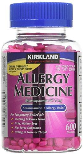 Diphenhydramine HCI 25 Mg - Kirkland Brand - Allergy Medicine and AntihistamineCompare to Active Ingredient of Benadryl Allergy Generic 1200 Count