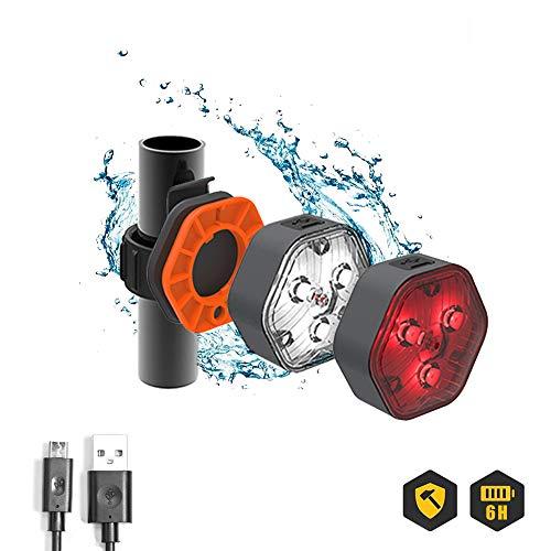 LIGGOO - LIG201FRA - Kit Lampe LED Puissante - Vélo AV/AR - 1,5 W 3,7 V - Rechargeable USB - Fixations Inclus - Vélo/VTT/Trottinette - Étanche et Résistante aux Chocs - Noir et Orange - 9 Pièces