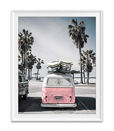 Classic Antique Van at Beach Ocean Nautical Photography Print, Unframed, Coastal Palm Trees Home and Wall Decor, 8x10 Inches