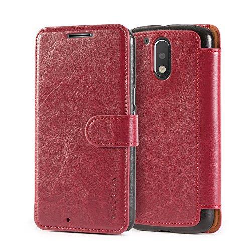 Mulbess Handyhülle für Motorola Moto G4 Plus Hülle Leder, Motorola Moto G4 Plus Handytasche, Layered Flip Schutzhülle für Motorola Moto G4 / G4 Plus Case, Wein Rot