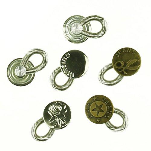Pomcat Messingknöpfe mit elastischer Feder zur Hosenverlängerung, Verlängerungsknopf für den Jeansbund, 6 Stück