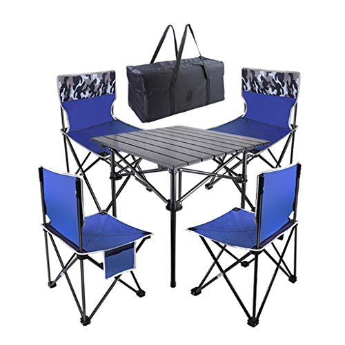 Juego de Mesa y Silla Plegable Multifuncional para Exteriores Mesa y Silla de Aleación de Aluminio Gran Capacidad de Carga Portátil (1 Mesa Cuadrada + 4 Sillas)