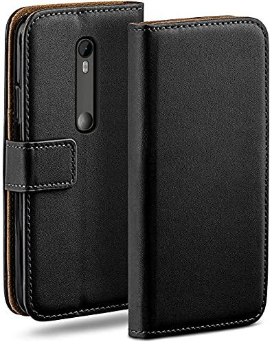 moex Klapphülle kompatibel mit Motorola Moto G3 Hülle klappbar, Handyhülle mit Kartenfach, 360 Grad Flip Hülle, Vegan Leder Handytasche, Schwarz