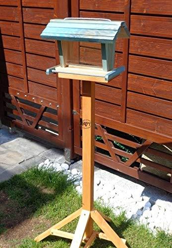 vogelhaus mit ständer BTV-X-VOFU2G-MS-blau002 Robustes, stabiles PREMIUM Vogelhaus mit ständer, FUTTERHAUS für Vögel, WINTERFEST - MIT FUTTERSCHACHT Futtervorrat, Vogelfutter-Station Farbe blau SKY BLUE himmelblau hellblau mittelblau dunkelblau/natur, Ausführung Naturholz, mit KLARSICHT-Scheibe zur Füllstandkontrolle, Schreinerarbeit aus Vollholz