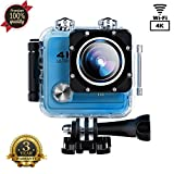 Action Camera SOUTHSTARDIGITAL  4K WIFI 16MP Waterproof Sports Camera Camcorder Underwater 30M HD Sport Video 170 Wide Angle Cam Rechargeable Battery DV Blue
