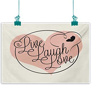 Mdxizc Wall Art Decor Poster Painting Live Laugh Love Romance Valentines Day Theme Calligraphy Art Heart Butterfly Decorations Home Decor W47 xL31 Pale Pink Black White