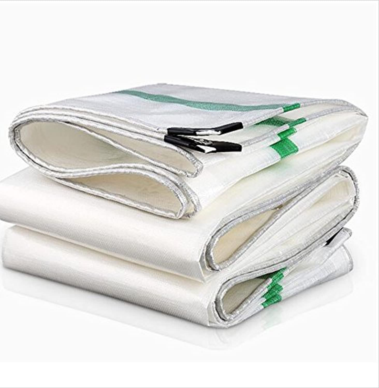 TZSMPB 緑/白の縞模様の防水シート - 防水多用途屋外市場ストールシートカバータープシート (Color : 白い, Size : 6x12m)