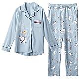 Camicie da Notte Donna Cotone Pajama Cotone Pigiami Due Pezzi Manica Lunga Top+Pantaloni Stile Sottile Primavera Autunno Estate,H-M:Suitable.Height:155~161cm.Weight:40~50kg