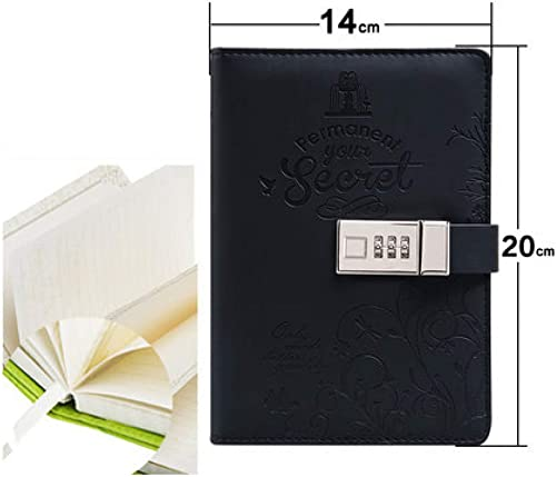 hasta 42% de descuento ZXSH Cuaderno Diario Secreto Con Con Con Candado, Cuero De La Pu, Cuaderno De Viaje, Cuaderno, útiles Escolares, negro