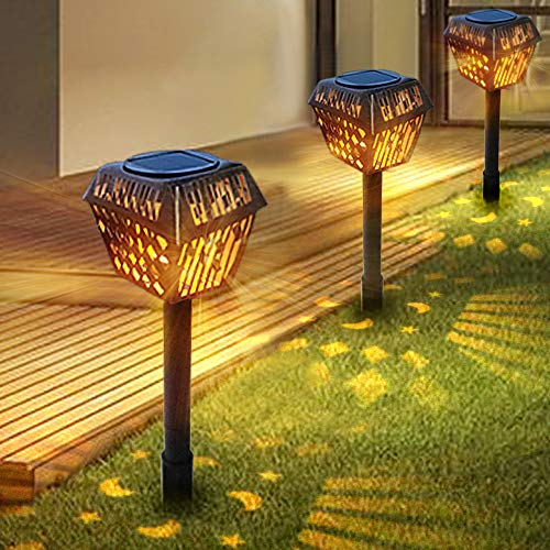 Solar Garden Lights Outdoor, LETOUR 4 Pack Garden Lights Solar Powered with Warm LED Lights, Waterproof Landscape Lighting Durable Iron Diamond Model for Patio, Yard, Pathway Dusk to Dawn Auto On/Off