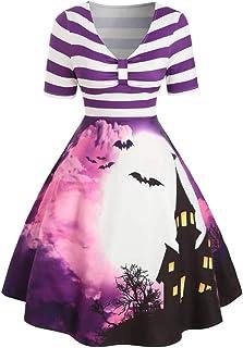 HebeTop Women's Halloween Dress Vintage Stripe Cocktail Swing Scary Bat Dress