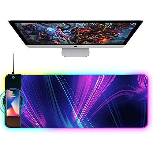 OFFICDO Wireless Charging Mouse Pad, 10W Extended RGB Mouse Pad Non-Slip Rubber Base 10 Lighting Modes, Ultra Thick Qi Fast Charging Gaming Mousepad for Samsung Galaxy S10/S9/S8 Plus iPhone 11/12 Pro