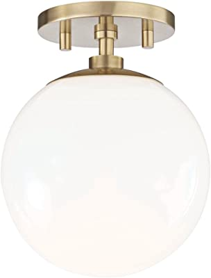 "Mitzi Stella 7"" Wide Aged Brass Ceiling Light"
