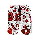 Pantalones de playa para hombre, tomates, chile y pimienta, pantalones de playa, pantalones cortos de playa - - Small