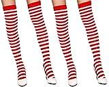 krautwear® Damen Gestreifte Overknees Strümpfe 2 Paar Ringelstrümpfe Karneval Fasching Cosplay 80er Jahre (2x rot-weiss)