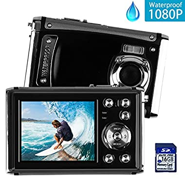 DECOMEN Waterproof Digital Camera Underwater Sport Camcorder with 16MP 2.4  LCD Screen, 8x Digital Zoom, Flash, Mic and Rechargeable Battery with 16G SD Card