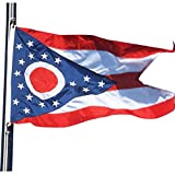 VSVO Ohio Flag 3x5 Ft -300D Nylon Premium Outdoor Embroidered OH Flag - Long Lasting Nylon, Sewn Stripes and Brass Grommets, 3 by 5 OH Flag