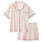 XKJL Ropa para Mujer Pijama de Mujer Pijama de Gasa de algodón de algodón Doble para Mujer Verano Fino Servicio a Domicilio de Verano-L