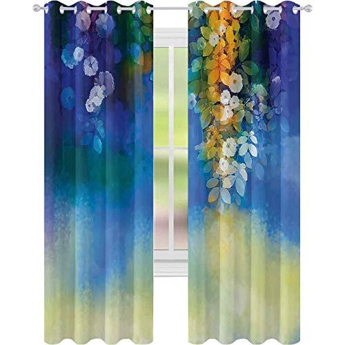 Cortinas opacas para dormitorio, diseño de flores de primavera, pintura de acuarela natural, 52 x 63, para sala de estar, azul marino, naranja y amarillo