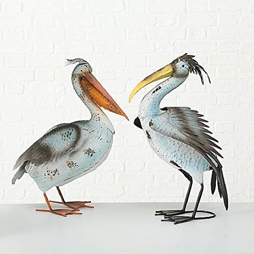 Juego de 2 Figuras Aves Pelicanos Decoración Jardín en Metal Altura 65cm Variados