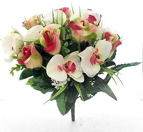 Ramo de rosas y orquídeas, flores artificiales de seda, Rosa, naranja y marfil., 1 Bunch