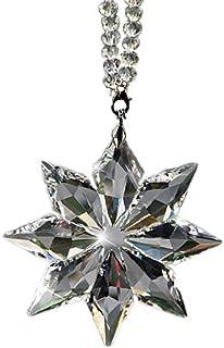 uzoho Car Rear View Mirror Ornament Car Pendant Crystal Snowflake Hanging Ornament Car Accessories