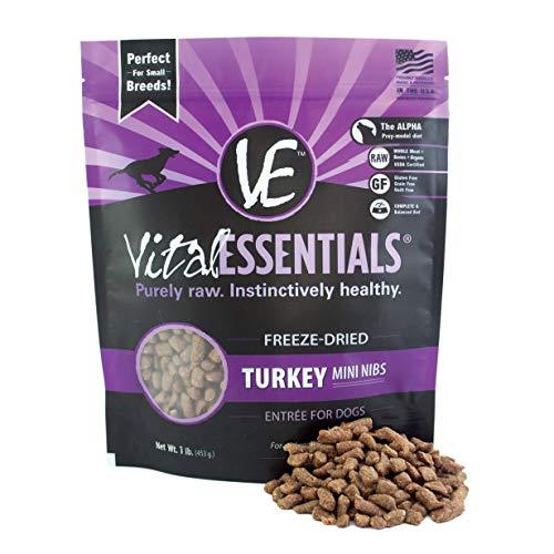 Vital Essentials Freeze Dried Turkey Mini Nibs - Gluten Free Small Bites - All Natural Dog Food - 1 lb Resealable Bag