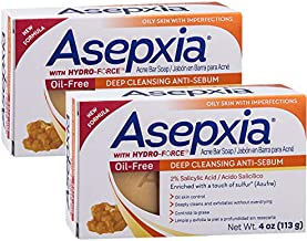 Asepxia Oil Free Sulfur Soap Acne Bar Soap 4 oz (Pack of 2)