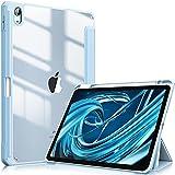 Fintie Hybrid Hülle für iPad Air 4. Generation 2020 - [Eingebauter Stifthalter] Stoßfeste Abdeckung mit Transparent Klar Hartschalen Rückseite Schutzhülle für iPad Air 4 10,9 Zoll, Himmelblau