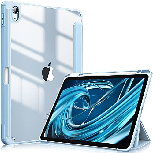 FINTIE Funda para iPad Air 10,9' (4.ªGeneración, 2020) - Carcasa con Soporte Integrado para Pencil Trasera Transparente a Prueba de Choques Auto-Reposo/Activación, Azul Claro