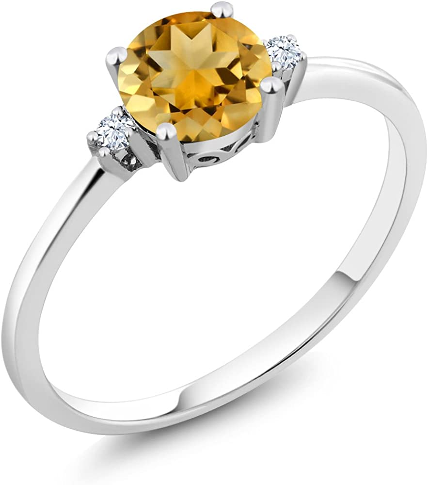 Gem Stone King Build Your Own Ring - Personalized Birthstone Ring in 10K White Gold Ring (Available 5,6,7,8,9)