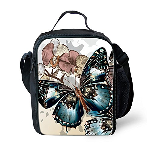 Nopersonality Noir Pretty Teen Filles Papillon Sac à Lunch pour l'école et de Travail, Color 6, Taille M
