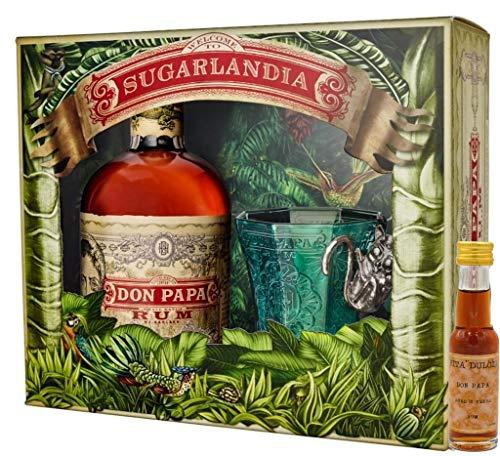 Don Papa Geschenkset - Rum 0,7l + Glas + Vita Dulcis Don Papa 10 Jahre Miniatur 0,02l - Rum aus Negros/