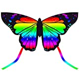 JEKOSEN 2021 New 55' Butterfly Huge Kite for Kids and Adults Easy to Fly Single Line String with 55' Tail for Beach Trip Park Family Outdoor Games and Activities