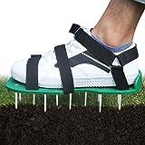 Hilif Rasenlüfter Schuhe Rasenbelüfterschuhe Rasenlüfter Sandalen Rasenlüfter Vertikutierer Rasenlüfter Spike Rasenbelüfter Schuhe mit 3 Riemen für Ihren Rasen oder Hof