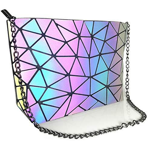 Hot One Farbänderungen Geometrische Leuchtende Geldbörsen und Handtaschen Holographic Purse Reflective Purse Fashion Rucksäcke (5# Leuchtend Messenger-Bags)