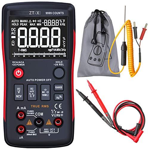 LKK-KK ZT-X de verdadero valor eficaz AUTO rango multímetro digital AC/DC amperímetro del voltímetro del 9999 Condes NCV HOLD y LCD de retroiluminación de la pantalla
