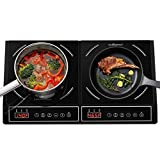 CUISUNYO Dual Induction Cooktop - Countertop Burners, 1800W Power Sharing Electric Portable Stove with Temperature and Power settings, Electric Burners for cooking with Digital Control and Timer Function