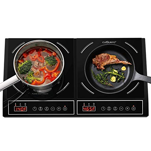 CUISUNYO Dual Induction Cooktop Countertop Burner 1800W, Electric Portable Induction Stove Burners for cooking - Digital Control and Timer Function
