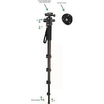 Professional Heavy Duty 72 Monopod//Unipod Dual Optional Head for Sony Handycam DCR-SR85