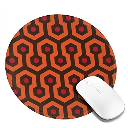 Round Mouse Pad Customized Overlook Hotel Carpet Non-Slip Waterproof Rubber Base Mousepad with Stitched Edge for Laptop Computer Office Gaming Desk