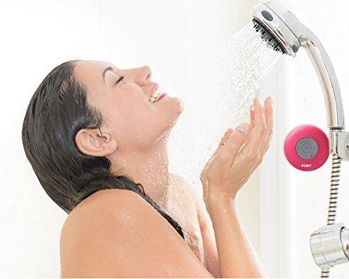 PORT Water Proof Bluetooth 3.0 Speaker, Water Resistant Mini Wireless Shower Speaker, Handsfree Portable Speakerphone with Built-in Mic (Hot Pink)