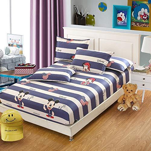 FFLDM Cubre colchón,Sábanas Ajustadas con Estampado de algodón para niñas, Protector de colchón de Dibujos Animados para apartamento súper Grande para niños-A_150x190 + 25cm