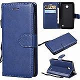 Laybomo Funda para Nokia Lumia 635 / RM-974 Carcasa Bolsa Tapa Cuero Billetera Magnética Protector Silicona Suave TPU Flip Cover para Nokia Lumia 635 Avec Fente pour Carte, Serie Empresarial (Azul)