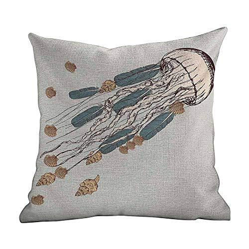 Matt Flowe Custom Fashion Home Decor Pillowcase Jellyfish Gray Beige Brown Decorations Sofa Throw Pillow Case Cushion Cover One Sided Printed 14'x14'inch