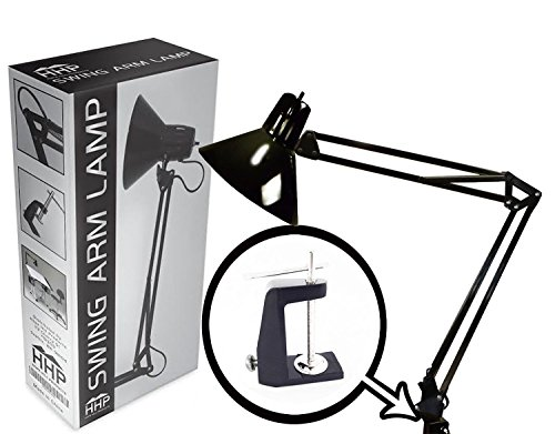 Swing Arm Lamp by HHP   Light for Desk Drafting Table Architect Artist Home Office Studio   Included Black Metal Clamp